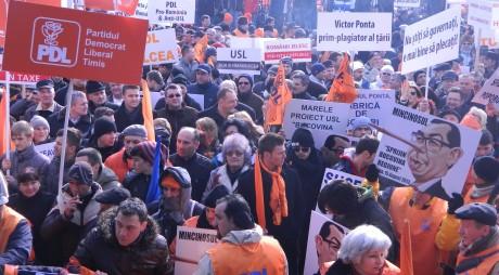 Miting PDL anti-Ponta la Cluj Napoca. Participă și 1.000 de hunedoreni