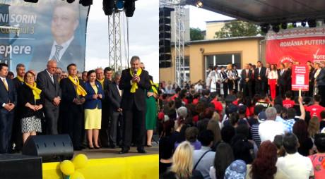 CÂT TUPEU! PSD și PNL își fac campanie electorală pe o scenă plătită din fonduri europene!