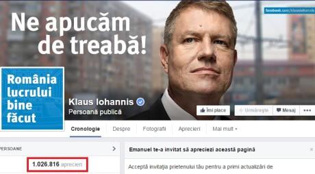 Facebook: IOHANNIS, cel mai apreciat politician din Europa