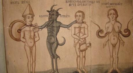 Diavolul a apărut, nu se ştie cum, într-o biserică din Hunedoara (Galerie FOTO)