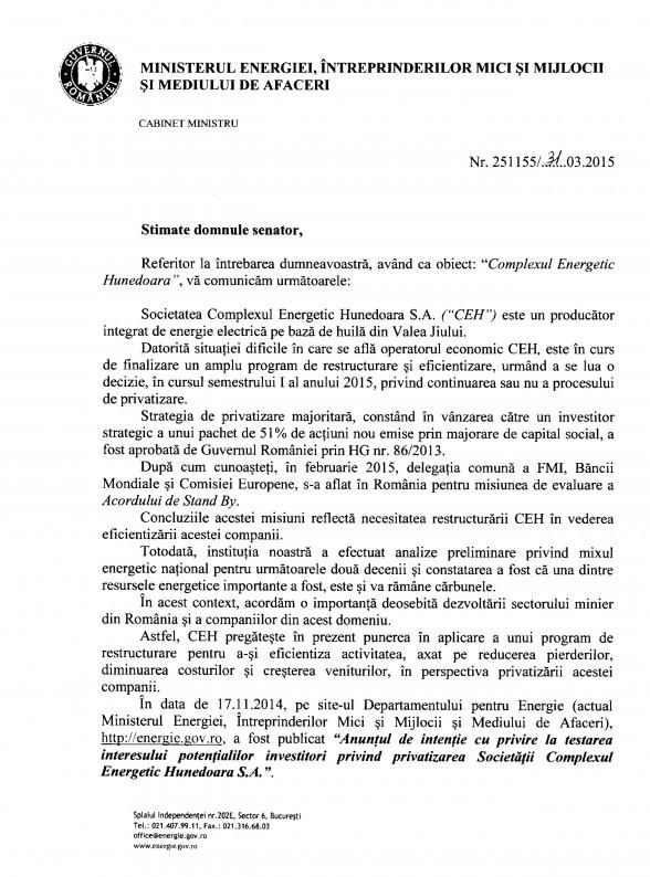 DOCUMENT. Răspunsul OFICIAL al Ministrului Energiei pe tema privatizării Complexului Energetic Hunedoara