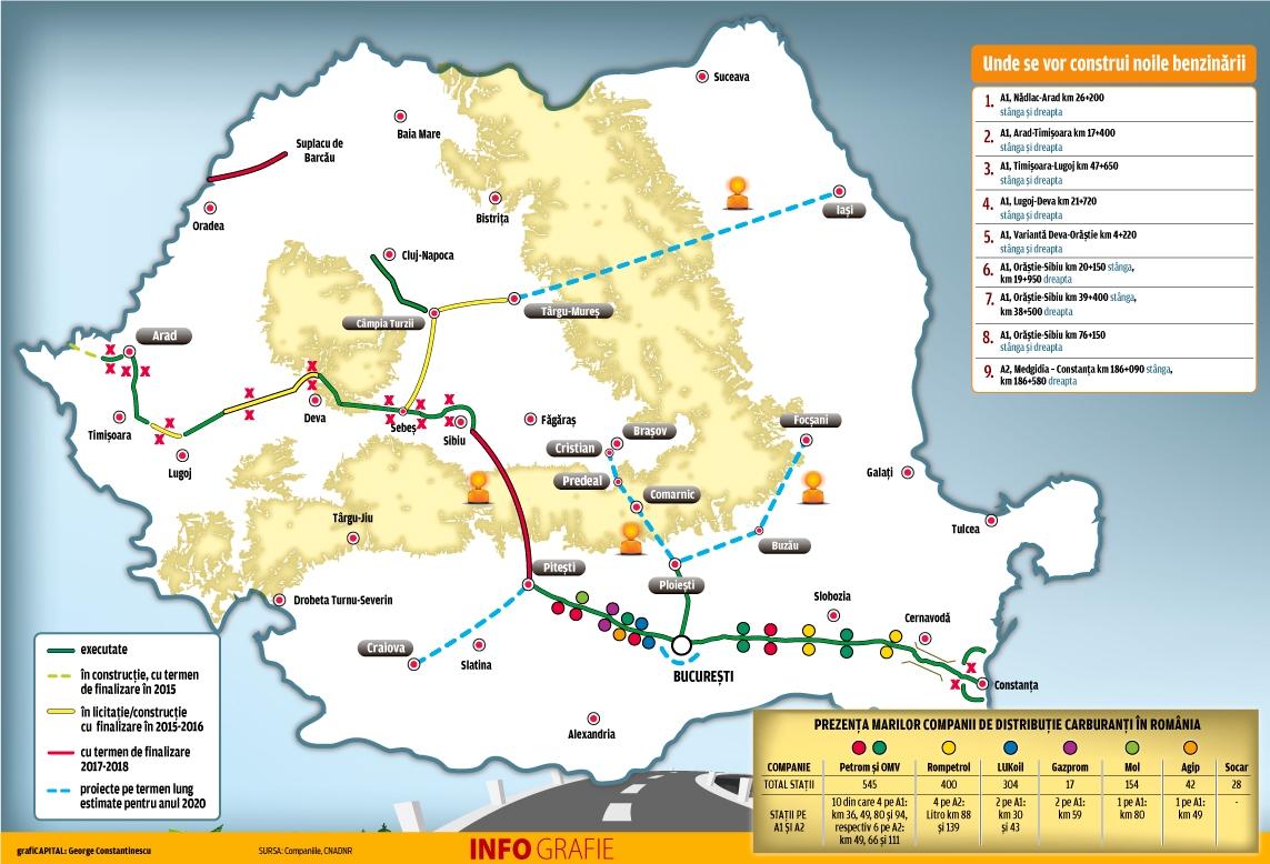Harta Unde Vor Fi Construite Benzinăriile De Pe Autostrada A1