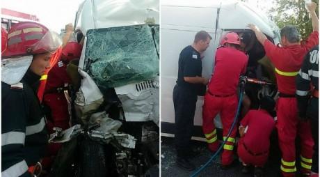VIDEO. ACCIDENT cu un microbuz şi un camion