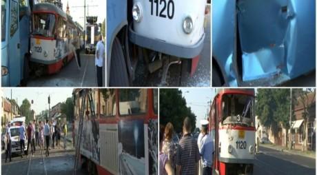 VIDEO. Accident în Arad: un autocar s-a izbit violent de un tramvai