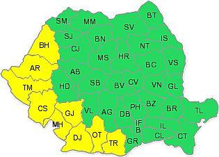 Cod galben de CANICULĂ în vestul țării