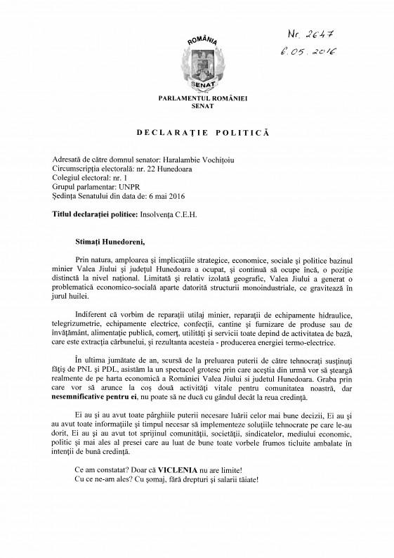 Declarație politică – Senator Haralambie Vochițoiu