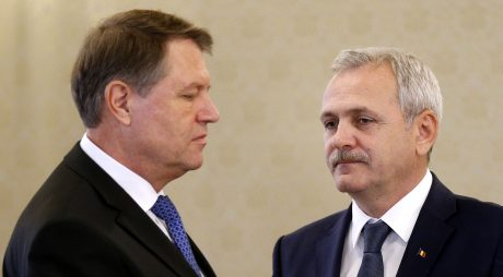 epa05684201 Liviu Dragnea (R), the leader of Romanian Social Democracy Party (PSD), looks on as Romania's President Klaus Iohannis (L) arrives for a meeting designated for negotiations for a designated Prime Minister and government, at the Cotroceni presidential palace, in Bucharest, Romania, 21  December 2016. PSD won the parliamentary elections on 11 Decemeber, and together with ALDE (The Alliance of Liberals and Democrats in Romania) has the majority in the Romanian parliament. Dragnea was supposed the become Prime Minister, but a law from 2001 state that he cannot become premier because of a two years suspended sentence he got in a trial, known as 'Referendum files' in April 2016. Liviu Dragnea appointed female economist Sevil Shhaideh, 52, (not pictured) as designated Prime Minister.  EPA/ROBERT GHEMENT