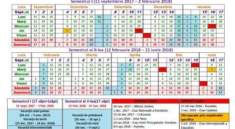 Structura anului școlar 2017–2018. Când sunt VACANȚE