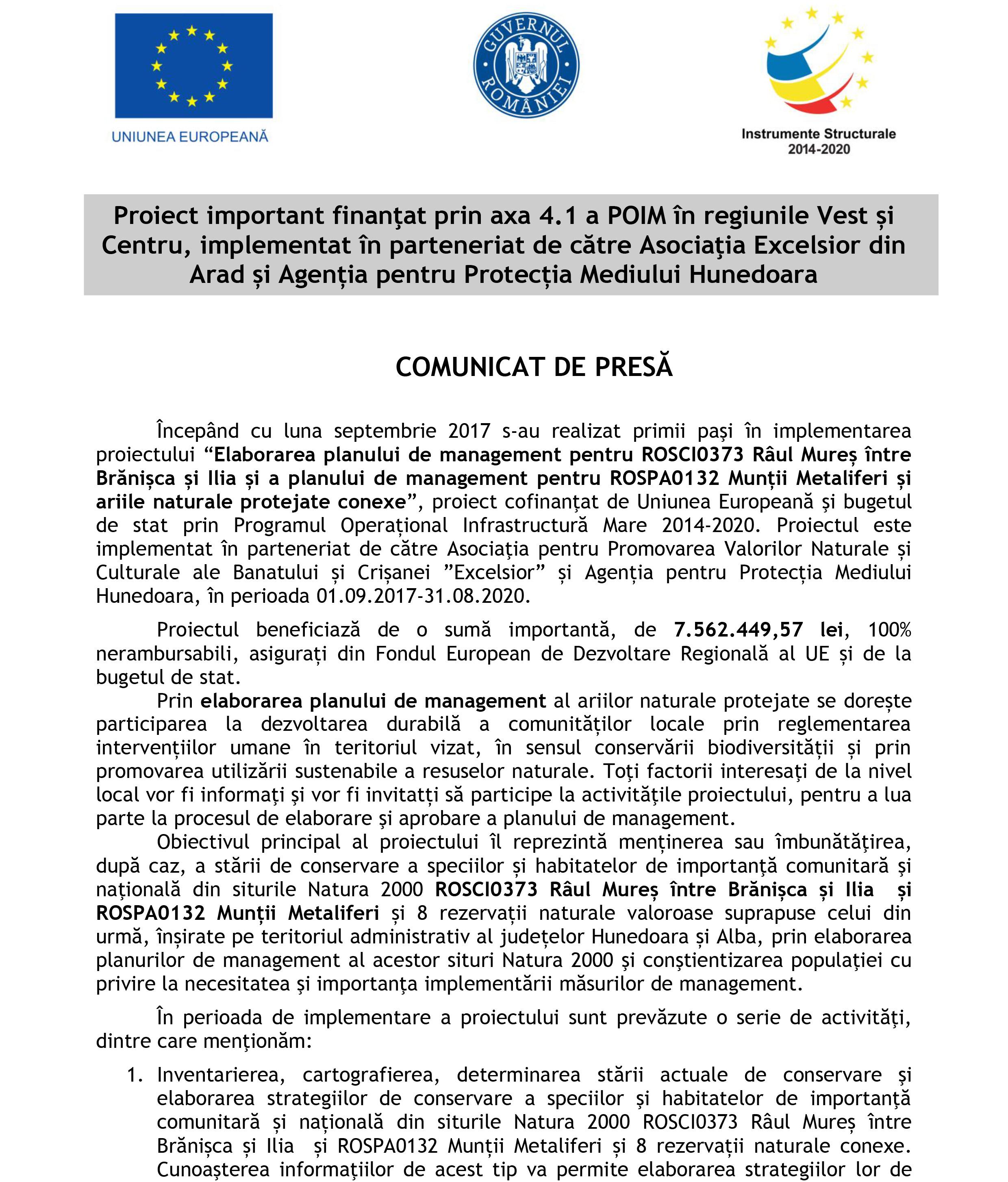 Comunicat de presă | Agenția pentru Protecția Mediului Hunedoara