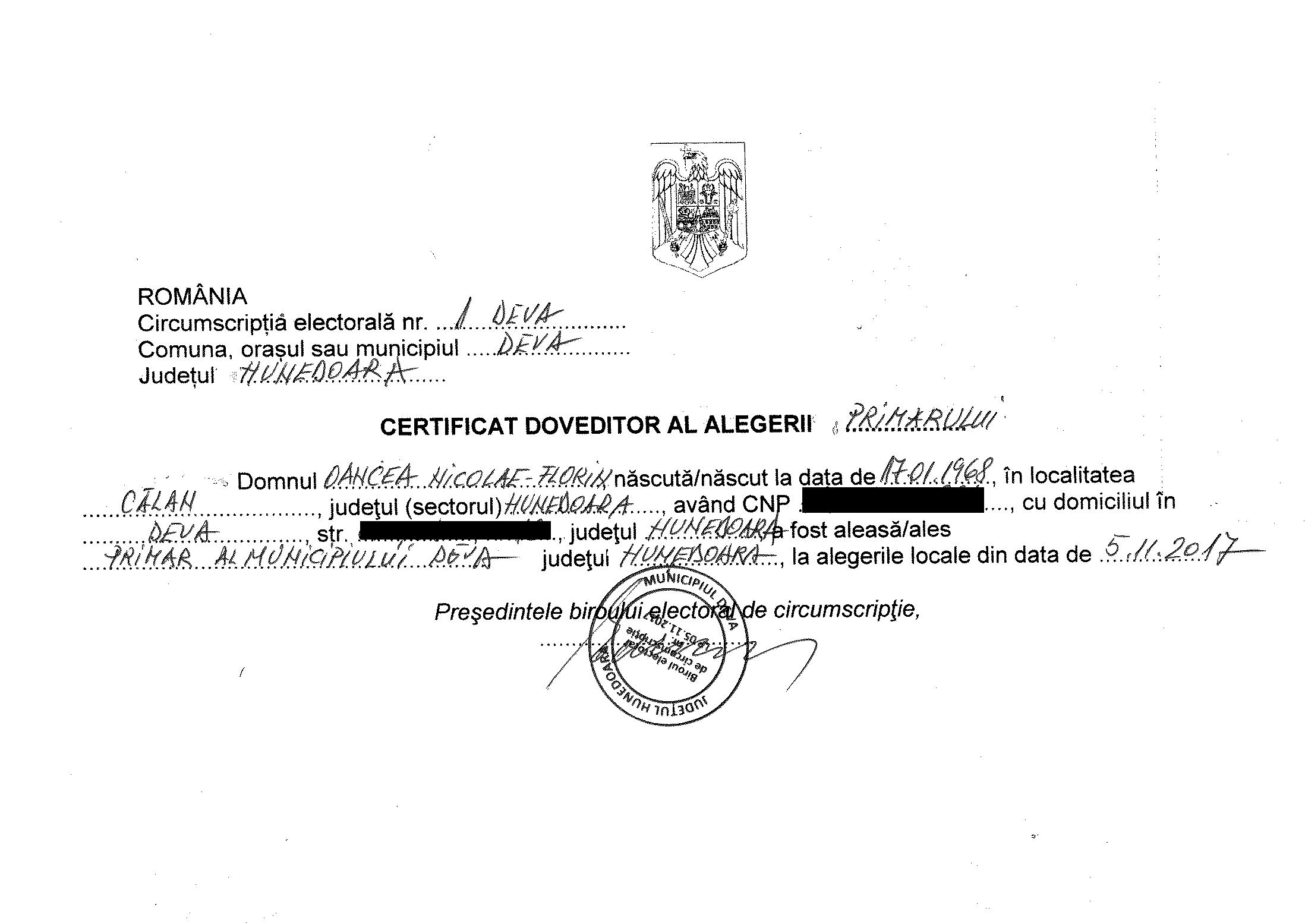 certificat alegeri primar
