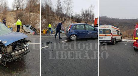 IMPACT VIOLENT pe șoseaua Simeria-Petroșani (FOTO)