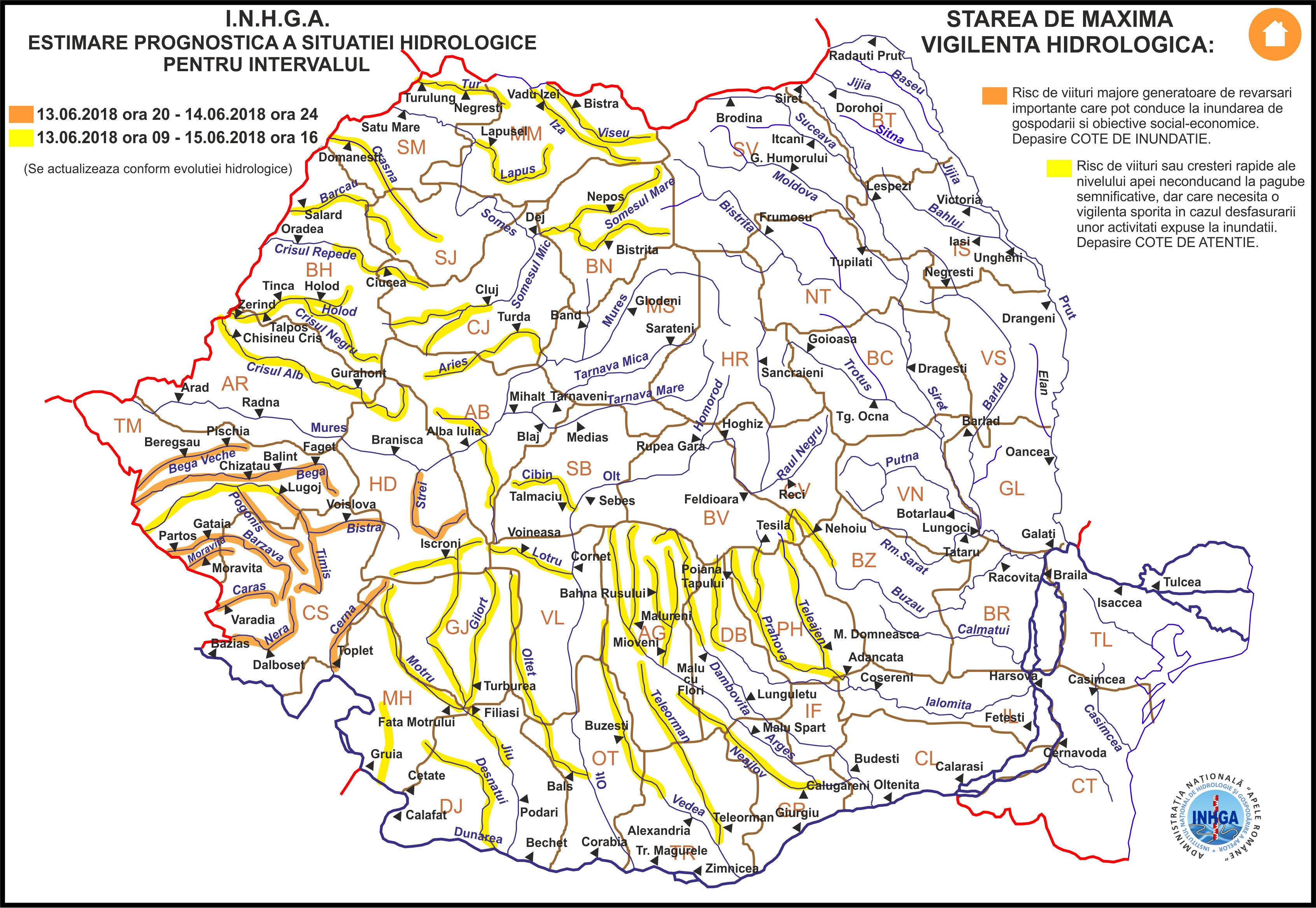 Harta Avertizare Hidrologica nr. 30 din 12.06.2018