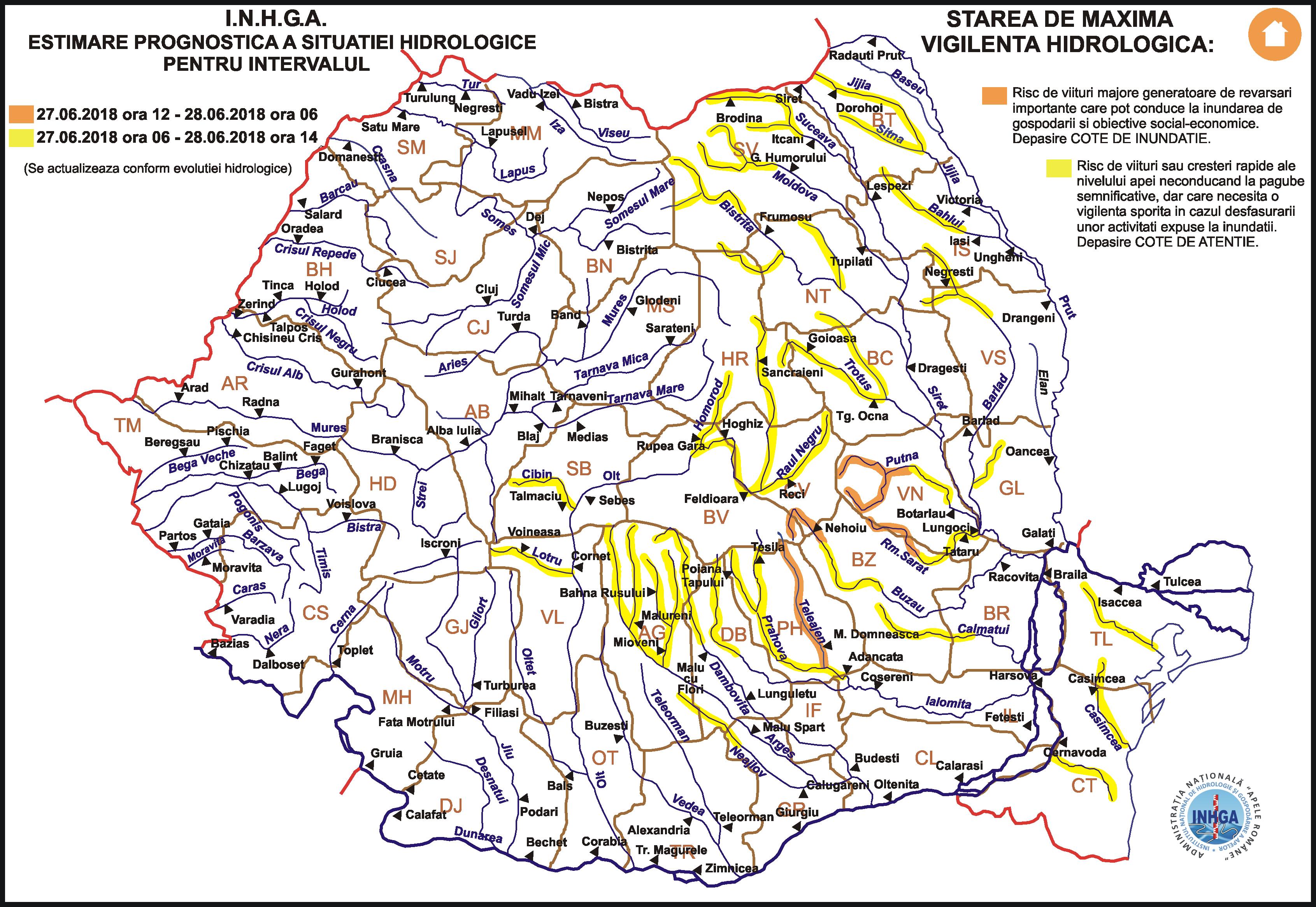 RISC de INUNDAȚII pe mai multe râuri din țară