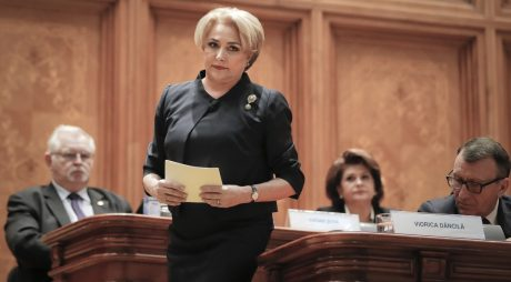 Romanian Prime Minister designate Viorica Dancila prepares to deliver a speech a joint parliament session that will vote on her and her cabinet's nomination in Bucharest, Romania, Monday, Jan. 29, 2018. Viorica Dancila is expected to win parliamentary approval to become Romania's first female prime minister, and the third premier in a year as the left-wing government faces protests and criticism from the European Union over legislation it is passing that critics say will make it hard to prosecute high-level corruption.(AP Photo/Vadim Ghirda)