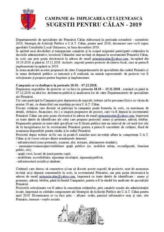Comunicat de presă |CAMPANIE DE IMPLICAREA CETĂȚENEASCĂ