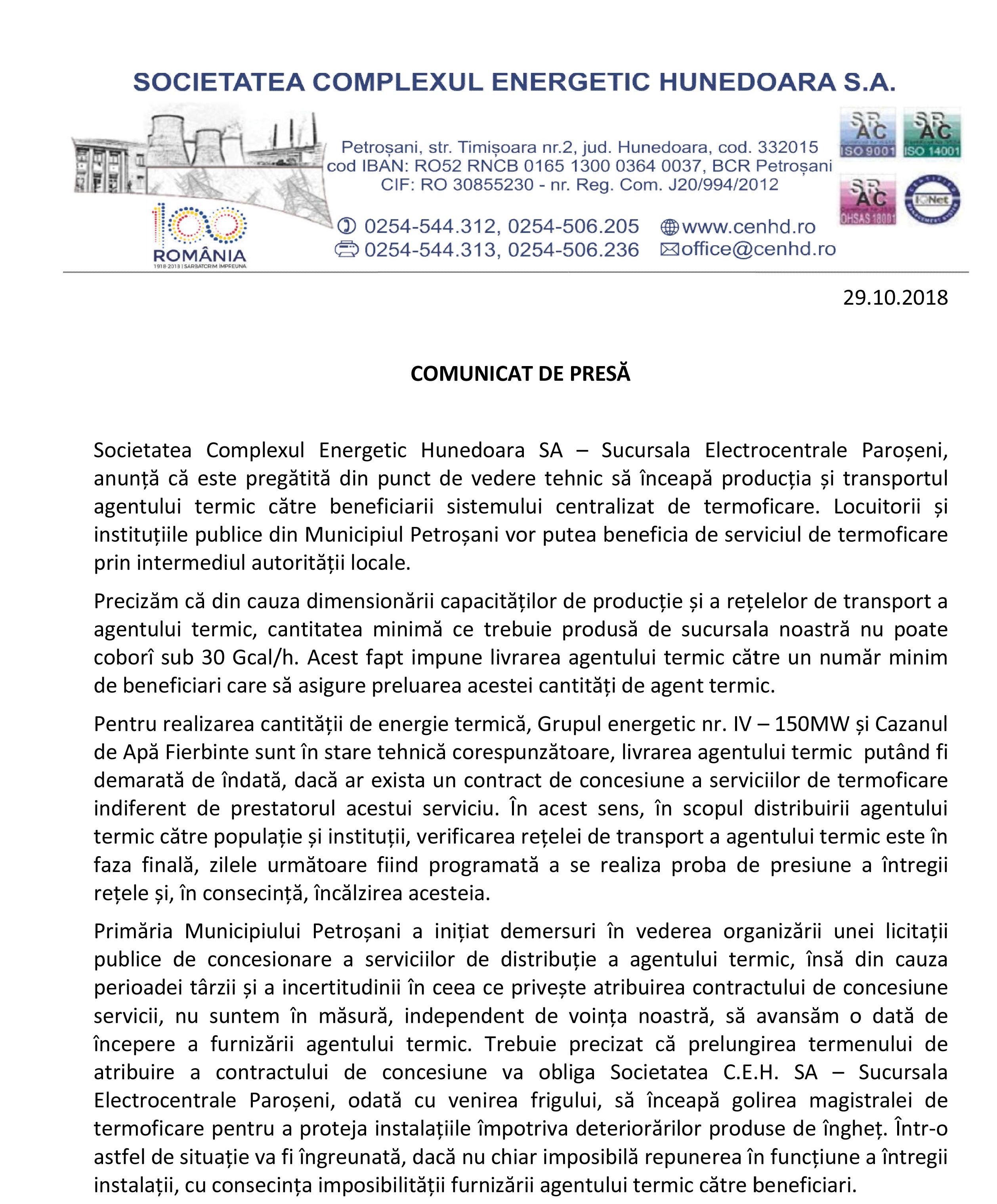 Comunicat de presă. Complexul Energetic Hunedoara