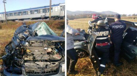 Accident teribil! Mașină, lovită în plin de tren!