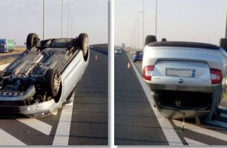 Accident pe Autostrada A1. Mașină răsturnată