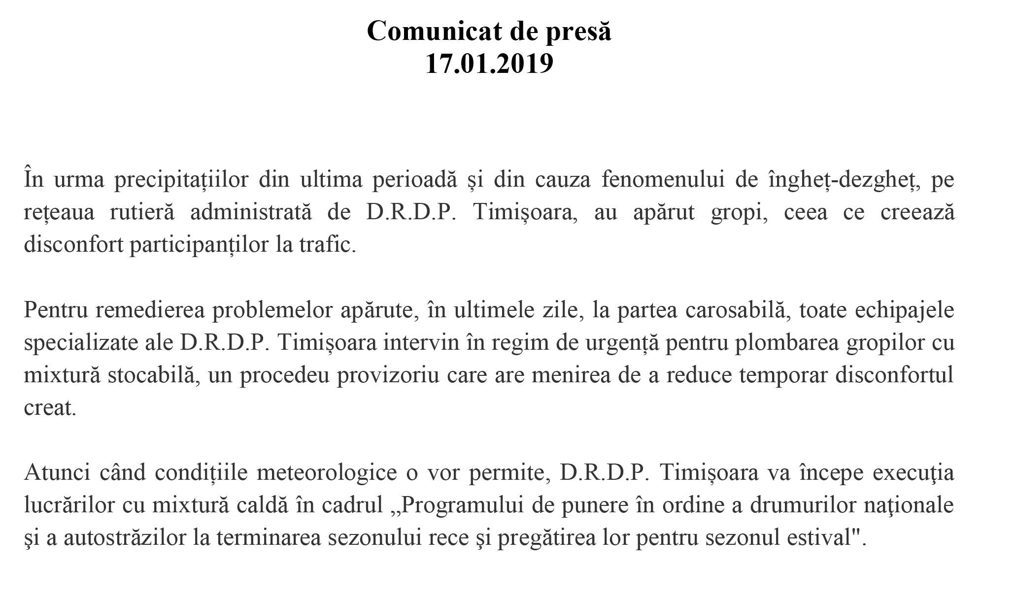 Comunicat de presă | D.R.D.P