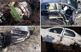 Accident mortal: Trei mașini și un camion cu butelii au fost implicate