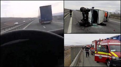 VIDEO. Şoferul microbuzului zdrobit de TIR, între Gilău şi Turda, făcea Live pe Facebook
