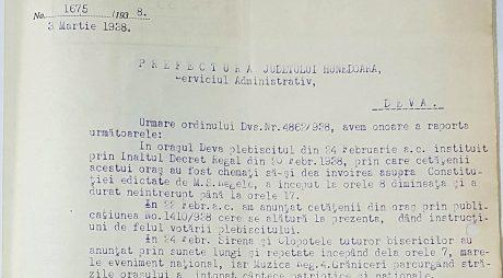 Așa s-a scris istoria:  Deva, ziua votului pentru Constituția lui Carol al II-lea