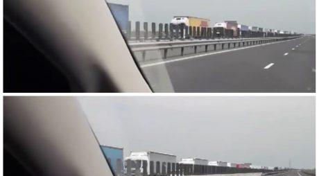 VIDEO:  Aglomerație în vama Nădlac II și coloană de TIR-uri pe autostrada A1 Arad – Ungaria