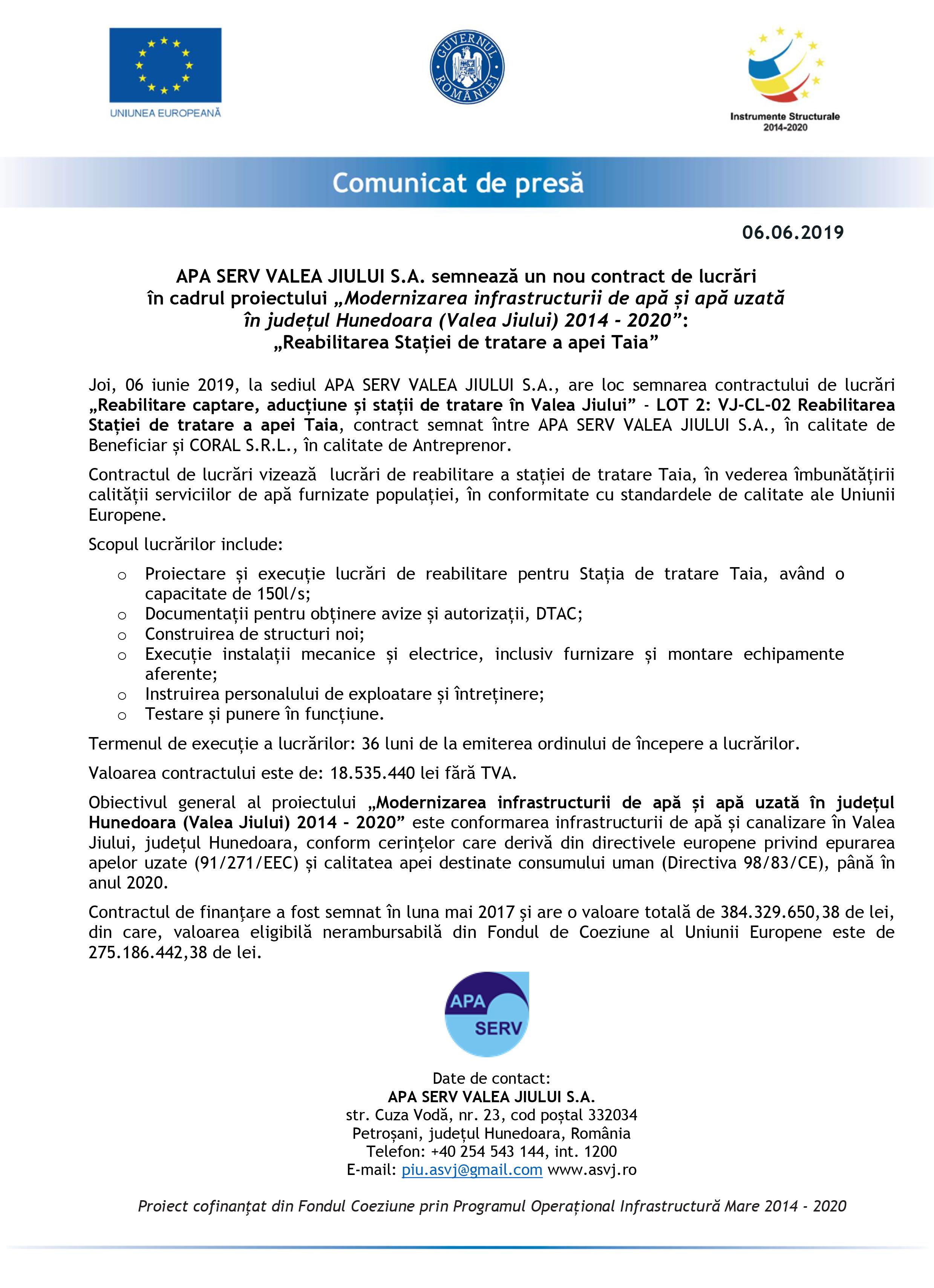 APA SERV VALEA JIULUI SA: Proiect de peste 18,5 milioane lei pentru modernizarea infrastructurii de apă și apă uzată