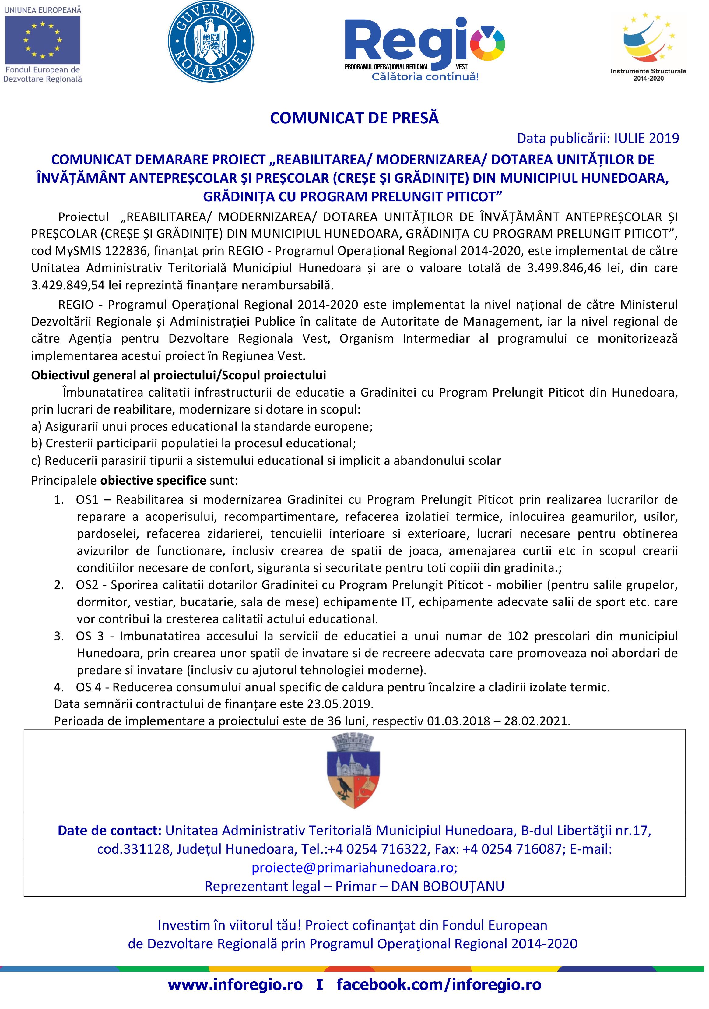 Microsoft Word - Comunicat demarare proiect gradinita.doc
