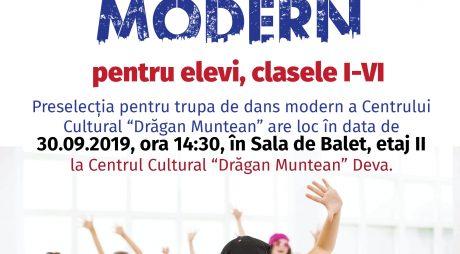 Preselecţie pentru Cercul de Dans Modern al Centrului Cultural din Deva
