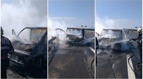 INCENDIU pe Autostrada A1, între Sebeș și Orăștie. Un microbuz a luat foc