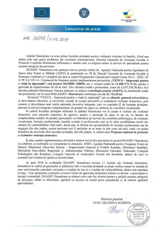 Comunicat de presă DGASPC Hunedoara