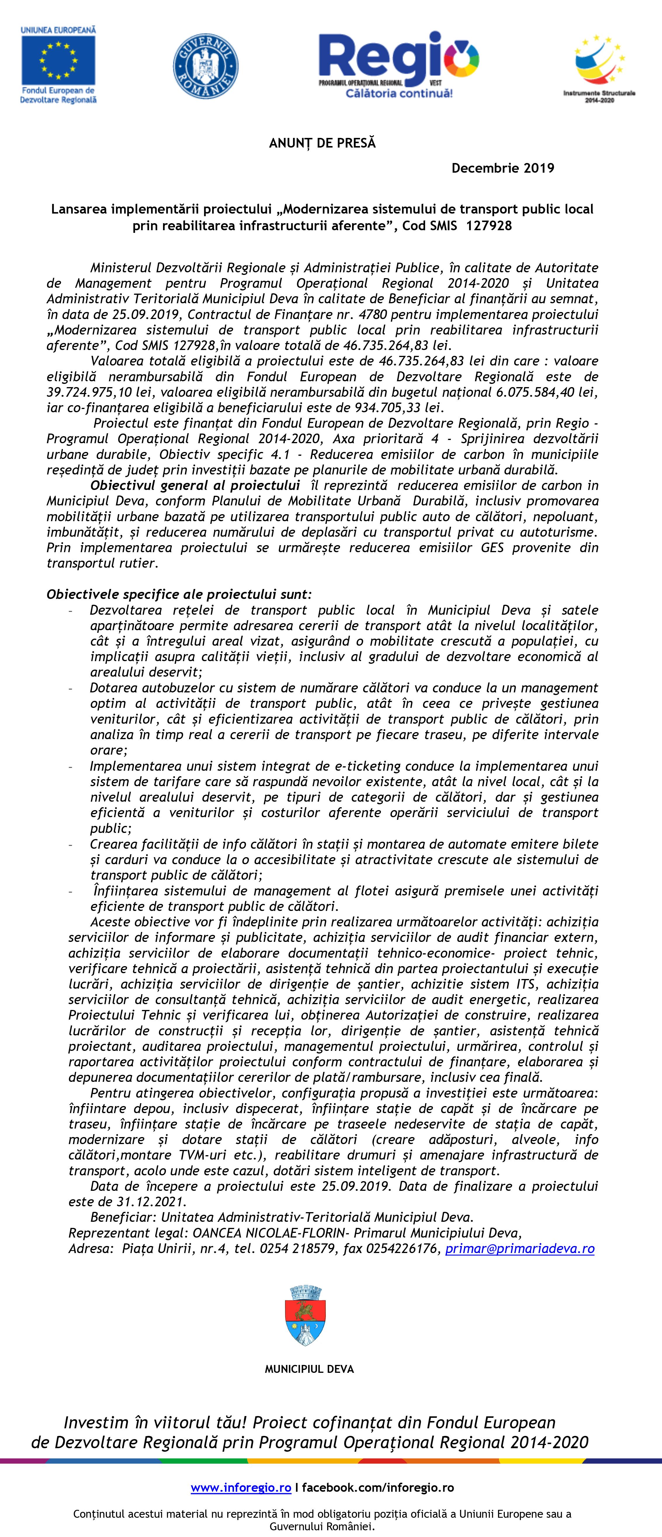 """Comunicat de presă: Lansarea implementării proiectului """"Modernizarea sistemului de transport public local prin reabilitarea infrastructurii aferente"""""""