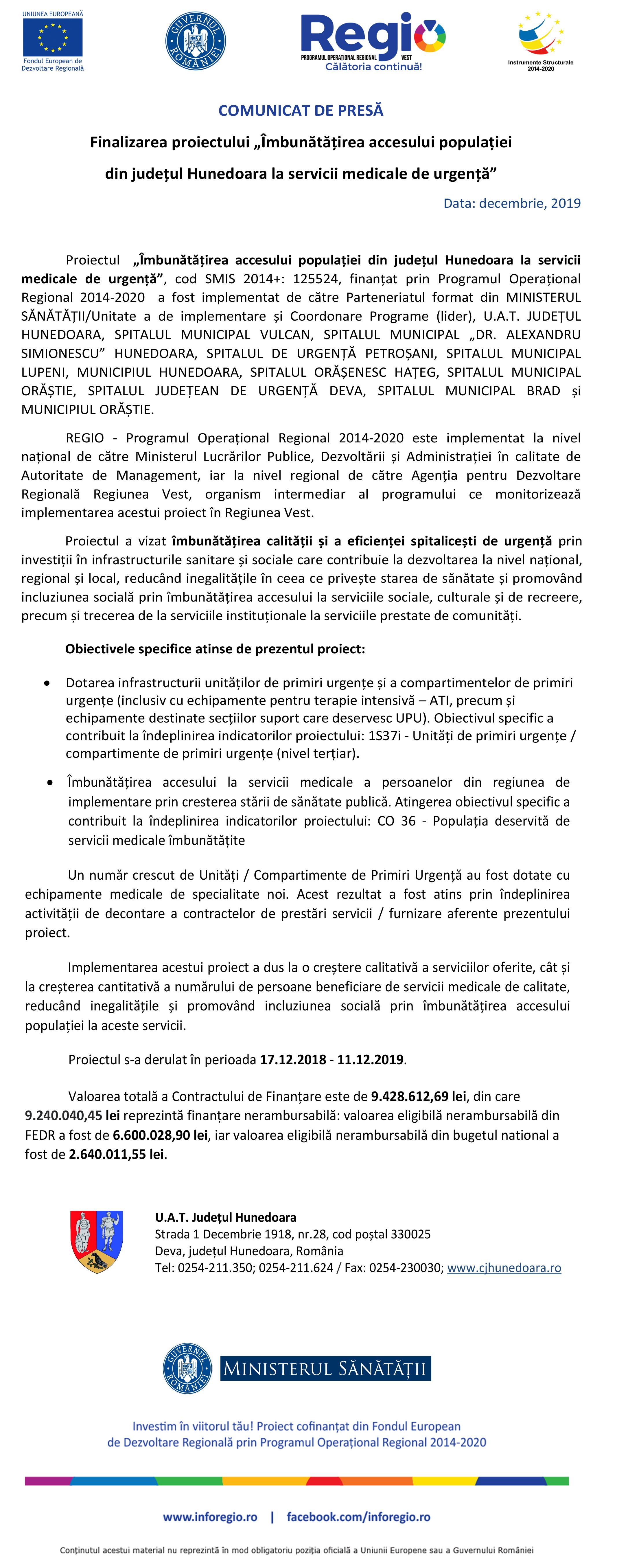 """COMUNICAT DE PRESĂ: Finalizarea proiectului """"Îmbunătățirea accesului populației din județul Hunedoara la servicii medicale de urgență"""""""