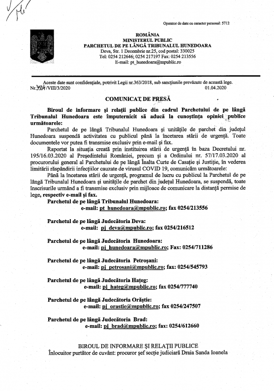 Comunicat de presa 3504-VIII-3-2020