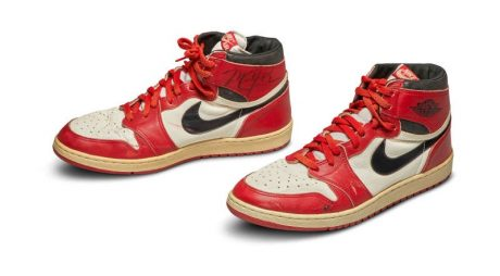 A pair of 1985 Nike Air Jordan 1s, made for and worn by U.S. basketball player Michael Jordan, are seen in an undated handout photo ahead of an online auction by Sotheby's New York. Sotheby's/Handout via Reuters