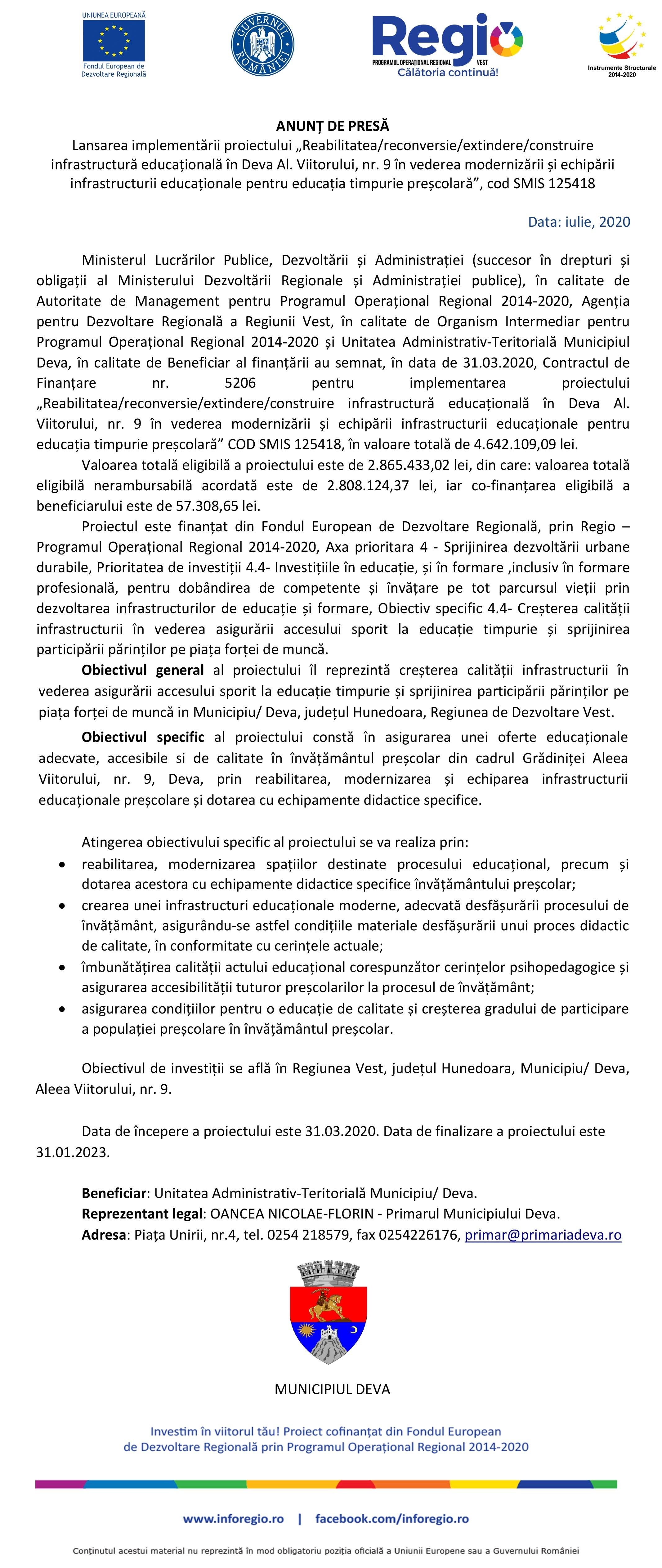 """ANUNȚ DE PRESĂ: Lansarea implementării proiectului """"Reabilitatea/reconversie/extindere/construire infrastructură educațională în Deva – Al. Viitorului, nr. 9 în vederea modernizării și echipării infrastructurii educaționale pentru educația timpurie preșcolară"""""""