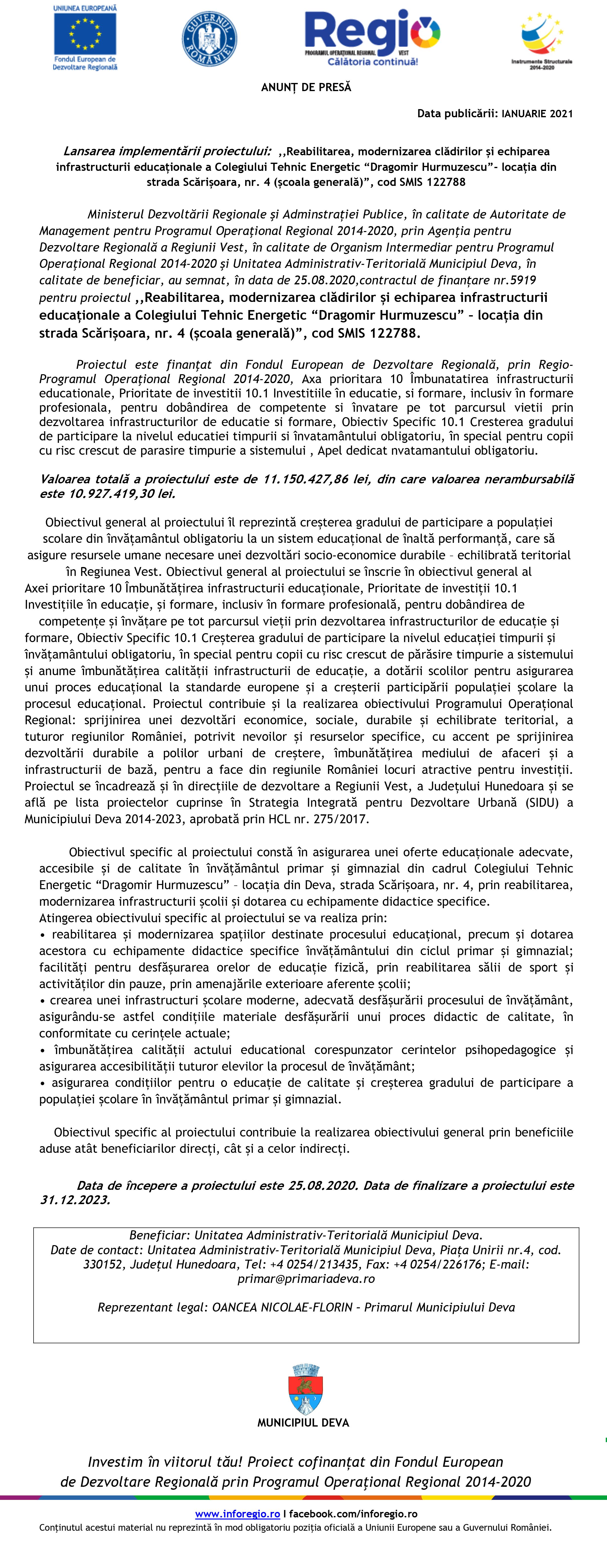 Microsoft Word - MACHETĂ ANUNȚ DE PRESĂ ÎNCEPUTUL PROIECTULU