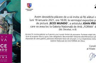 """""""ECCE MUNDO"""", expoziție a artistului hunedorean John Pârva la Galeria Forma"""