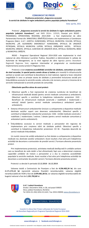 """COMUNICAT DE PRESĂ: Lansarea proiectului """"Asigurarea accesului la servicii de sănătate în regim ambulatoriu pentru populația județului Hunedoara"""""""